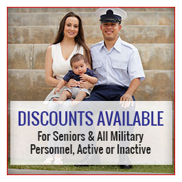 Discounts Available, For Seniors & All Military Personnel, Active or Inactive